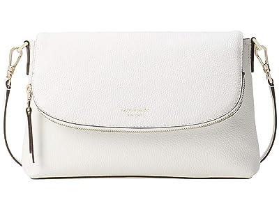 Kate Spade New York Polly Large Flap Crossbody (Optic White) Handbags