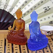Colored Claze Buddha Statue Fengshui God of Wealth Resin Crafts Opening Gifts Treasure Bowl Home Office Cornucopia Decorat...