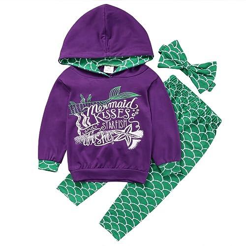 b2ca2fa9d38b Baby Girl 3pcs Outfit Set Mermaid Long Sleeve Top+ Long Pants+Headband Suit