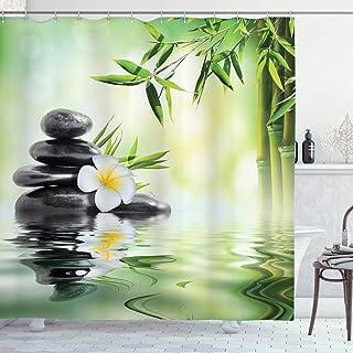 ABAKUHAUS Garden Shower Curtain, Bamboo Japanese Relax, Cloth Fabric Bathroom Decor Set with Hooks, 175 cm x 200 cm, Charc...