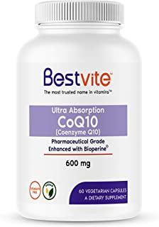 Coenzyme CoQ10 600mg with Bioperine (60 Vegetarian Capsules) Naturally Fermented - No Fillers - No Stearates - Vegan - Gluten Free - Non GMO