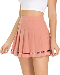 Women's Pleated Skater Tennis Skirt with Shorts Pockets A line High Waisted Cute Flared Casual Mini Short Golf Skirts