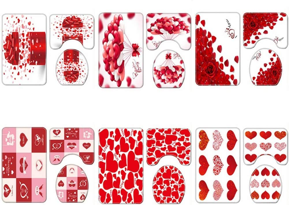Facaily 3D Printing Romantic Love Theme Non-Slip Bathroom Home Decoration Shower Curtain for Valentines Day