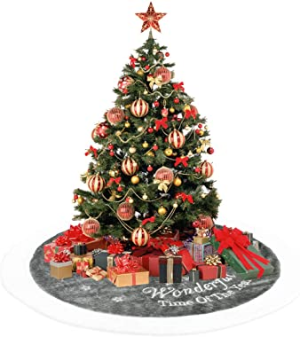 "Dremisland 36"" Luxury Faux Fur Christmas Tree Skirt with Snowflake Double Layers Soft Tree Skirt Xmas Holiday Party Decoratio"