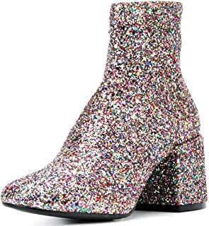 Glitter Low Block Heel Ankle Boots Sequins Round Toe Dress Booties Shoes with Zips