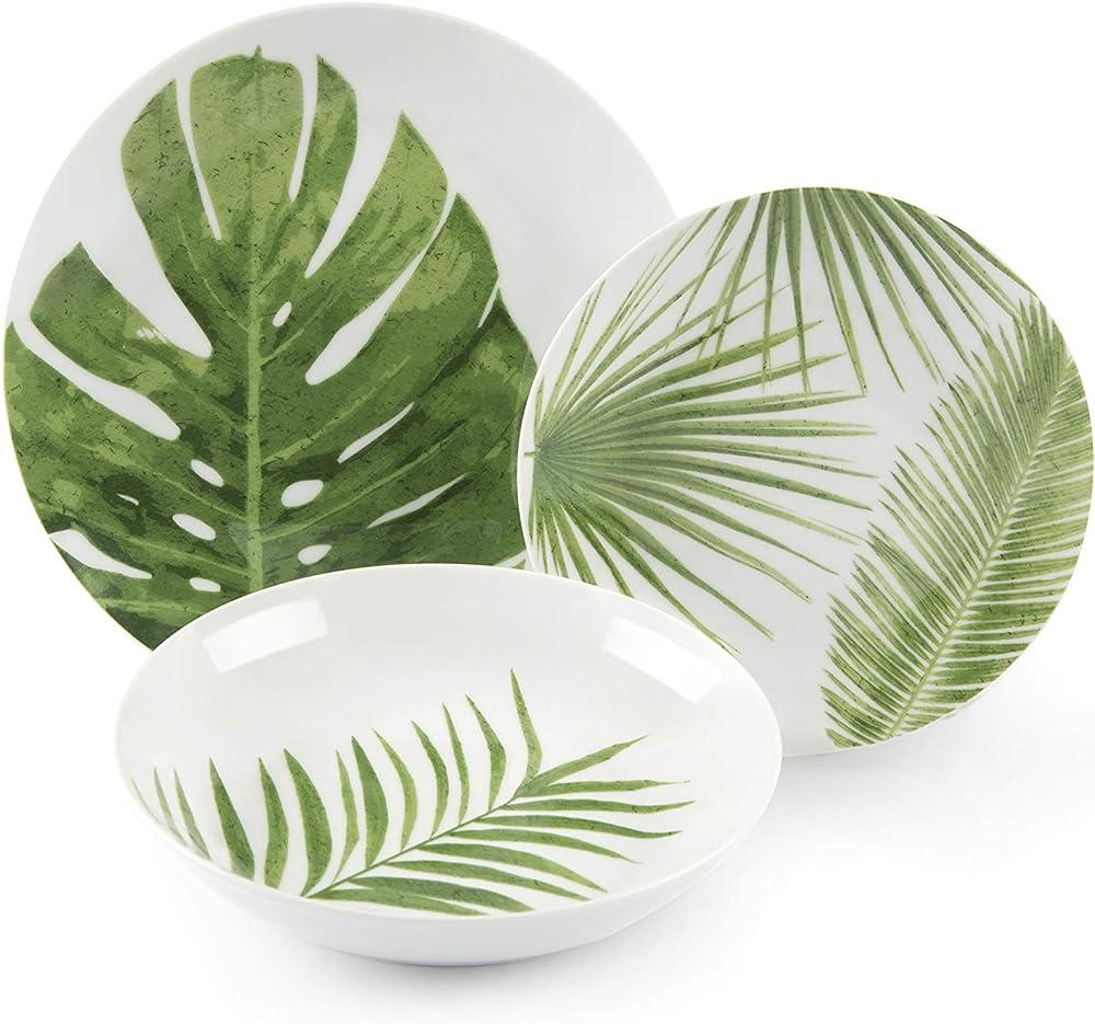 Excelsa foliage , servizio di piatti da 18 pezzi, in  porcellana 62505