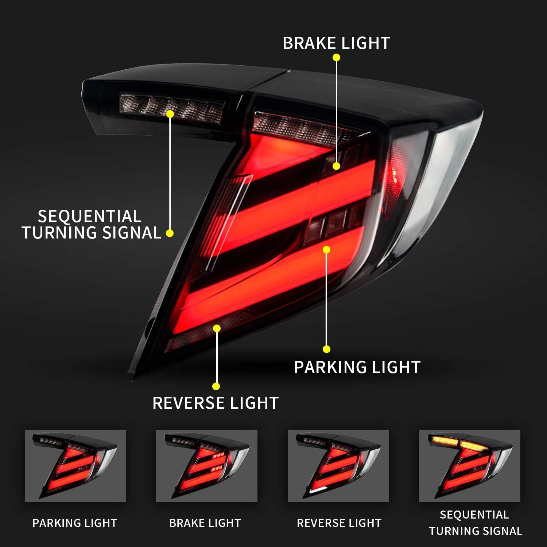 Luz Trasera Luz Trasera con Indicador de Se/ñal de Giro Secuencial Negro 2018-2020 Luces Traseras LED para Honda Civic Hatchback//Type R