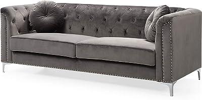Amazon Com Baxton Studio Selma Leather Modern Sectional