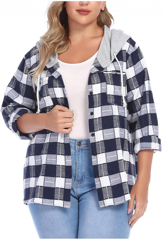 Women's Long Sleeve Plaid Hoodie Jacket Button Down Blouse Tops Retro Wool Blend Blouse Shirt Fall Outdoors Jackets Coats