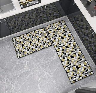قطعتان من السجاد قابل للغسل في الماكينة سجاد شبكي سجاد للمطبخ سجاد مدخل الحمام نمط هندسي مثلث 60 * 90 + 60 * 180 سم