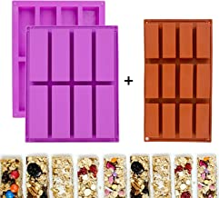 3 Pack Rectangle Granola Bar Silicone Mold Nutrition Cereal Bar Molds Energy Bar Maker for Baking Bread Chocolate Truffles...