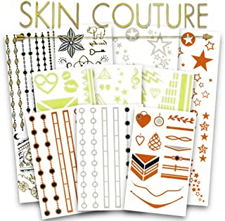 Flash Metallic Temporary Tattoos Bulk Super Set ~ Over 500 Deluxe Festival Tattoos for Women Adults, Foil, Glow-in-the-Dark, Gold and Silver, White, Color, Boho, Mandala, and More