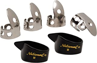 National NP1-7B Thumb & Finger Pick Pack - Stainless Steel/Black - Medium