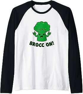 Brocc On - Broccoli Pun Funny Raglan Baseball Tee