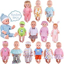 Young Buds 9 Sets for 14-15 Inch Alive Baby Doll and 18-inch America Doll Dress Clothes Outfits Cotton Clothing Multicolored