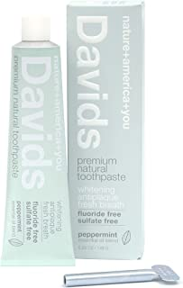 Davids Natural Toothpaste, Whitening, Antiplaque, Fluoride Free, SLS Free, Peppermint, 5.25 OZ Metal Tube, Tube Roller Included