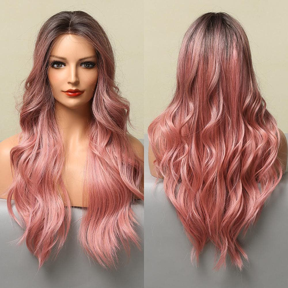 Long Ranking TOP5 Pink High-density Material Synthetic Body Wigs Spasm price Na Wave