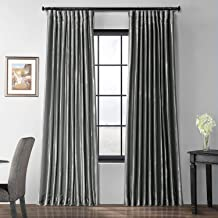 Ptch-BO112-96-DW Blackout Extra Wide Faux Silk Taffeta Curtain, 100 x 96, Polished Silver