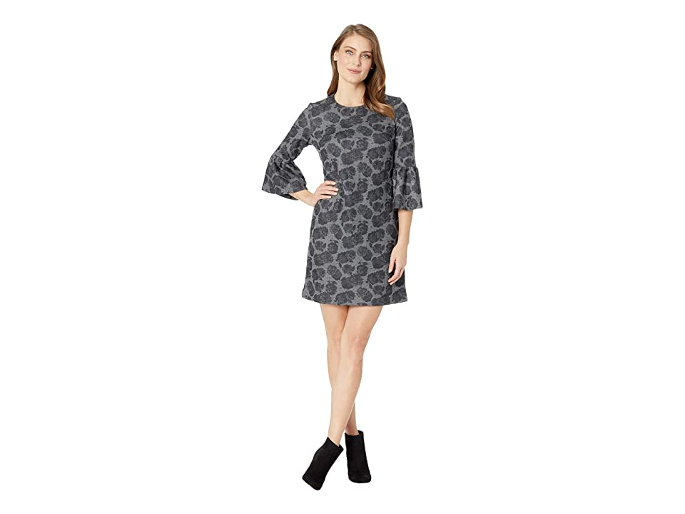 Calvin Klein Floral Print Bell Sleeve Ponte Dress CD8PF86L (Tin/Black) Women