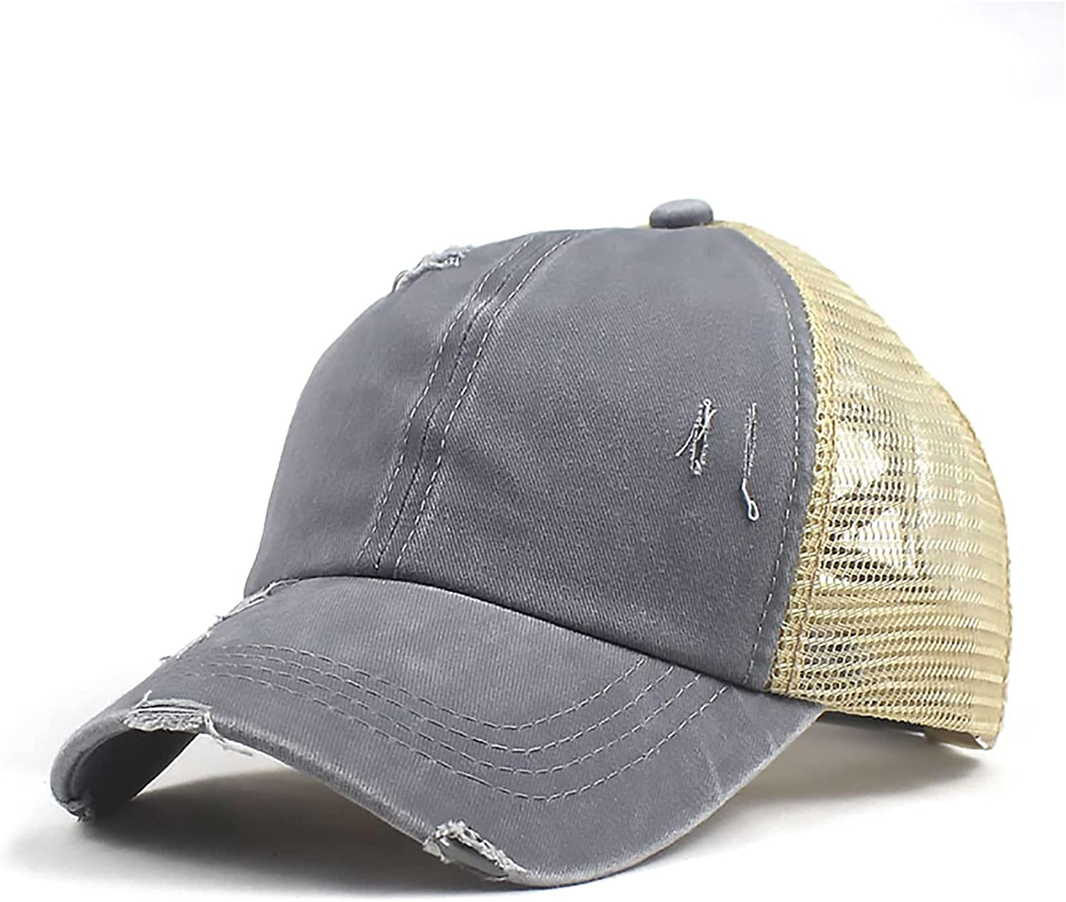 Edoneery Washed Distressed Adjustable Ponytail Baseball Hat for Outdoor Trucker Hats Mesh Back High Messy Bun Ponycap
