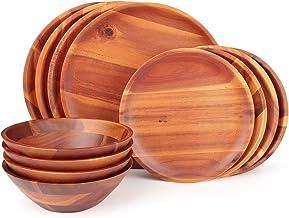 طقم أدوات مائدة من خشب أكاسيا مكون من 12 قطعة من أدوات المائدة الخشبية، خدمة لأربعة