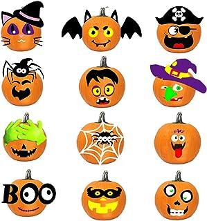 set di 12 adesivi con espressioni di zucca per Halloween fai da te Wekon decalcomanie per il viso Jack-O-Lantern per feste di Halloween zucca zucca zucche
