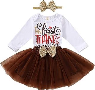 My 1st Thanksgiving Newborn Baby Girls Outfit Turkey Romper Tulle Tutu Dress Ruffles Warm Leggings 4Pcs Skirts Set