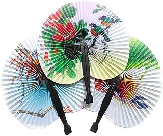 Chytaii 5pcs Abanico de Mano Abanico Plegable Plegables de Bambú Abanico del Baile Decoración de La Pared Adorno de Casa Ventilador Redondo de Papel Vintage Abanico de la Danza Colores Aleaterios