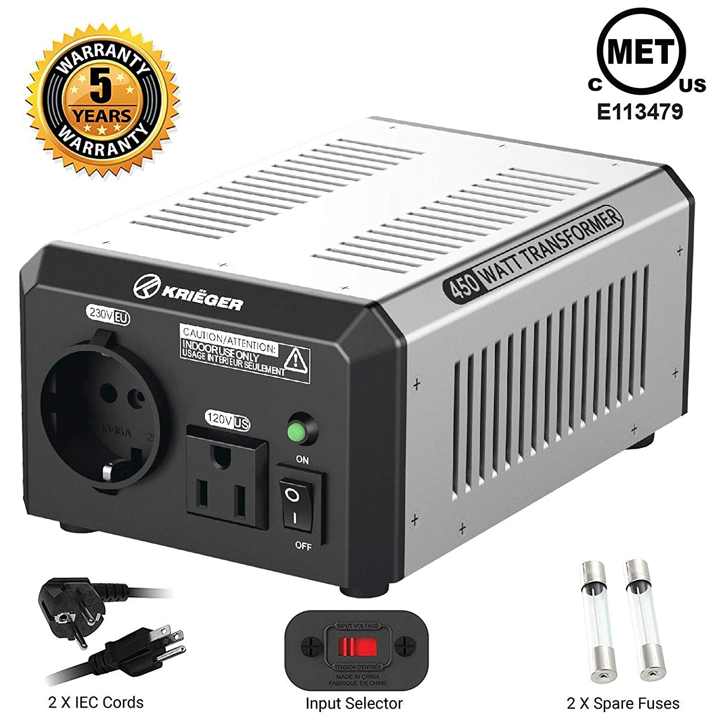 KRI?GER 450 Watt Voltage Transformer, 110/120V to 220/240V Step Up Step Down Voltage Converter, MET Approved Under UL, CSA