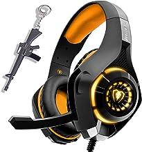 Auriculares para juegos de color naranja para PC PS4 Xbox One (S / X) Auriculares con sonido envolvente estéreo con luz LED USB para laptop Regalo para computadora Mac Ideal para jugadores de niños