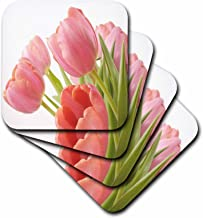 3dRose CST_55218_2 Pleasantly Pink Tulips Soft Coasters, Set of 8
