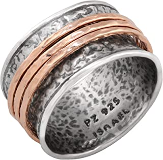 PZ Paz Creations .925 Sterling Silver Gold Over Silver Spinner Ring
