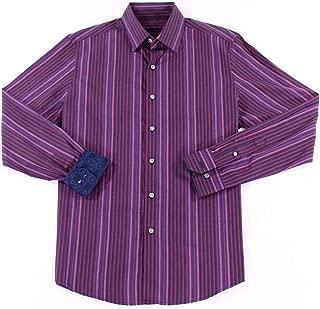 Tasso Elba Berry Mens 18-18 1/2 Striped Dress Shirt