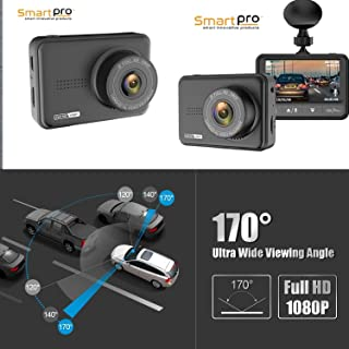 Screen Full HD 1080P60 165 Wide Angle Dashboard Camera, Car DVR Vehicle Dash Cam with G-Sensor, WDR, Loop Recording, Grey