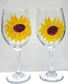 2 Yellow Sunflower Hand Painted Wine Glasses