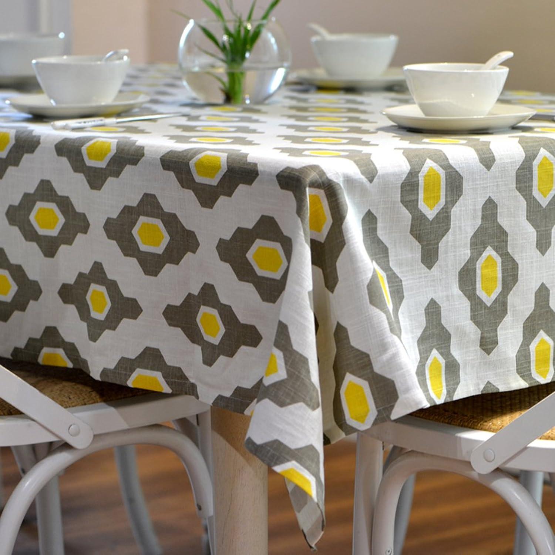 Insun Leinen Tischdecke Tischwsche Tischdeko Abwaschbar Grau Gelb 130x180cm