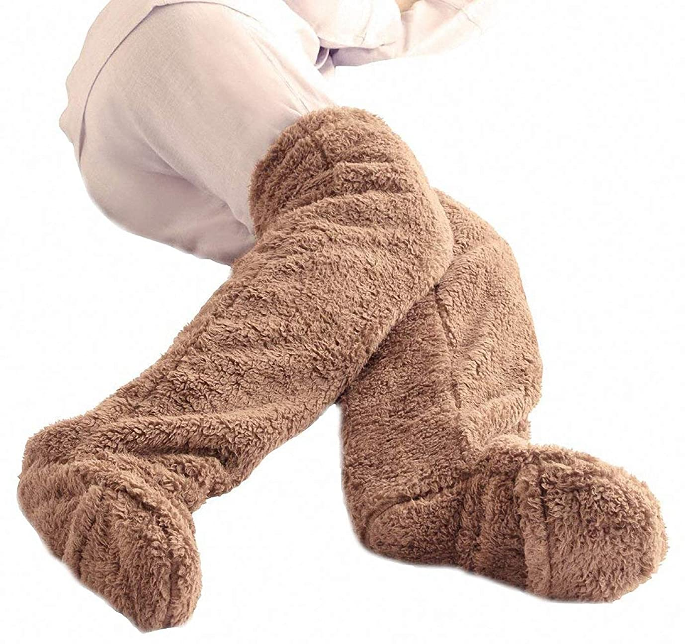 高める形成魅惑するフリース生地 室内履き 足が出せるロングカバー 軽量ヒートソックス 歩ける ロングカバー 極暖 ルームソックスルームシューズ