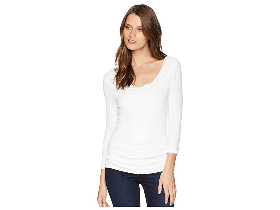 Three Dots Luxe Rib Cowl Neck Top (White) Women