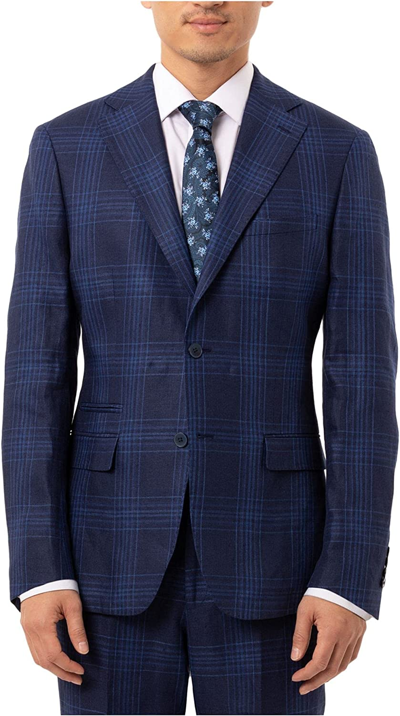 Tallia Mens Suit Seperate Short Plaid Printed Blazer Blue 40
