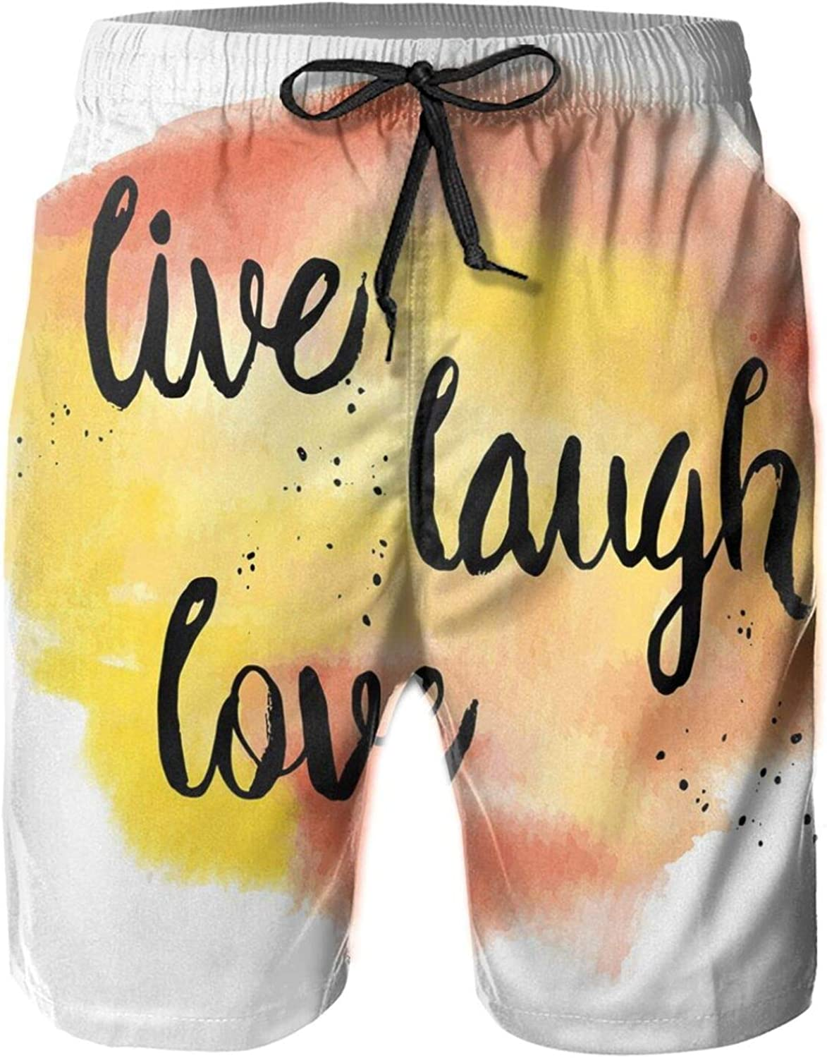 Ink Painted Lettering On Soft Watercolors Inspiration Artwork Mens Swim Shorts Casual Workout Short Pants Drawstring Beach Shorts,XXL