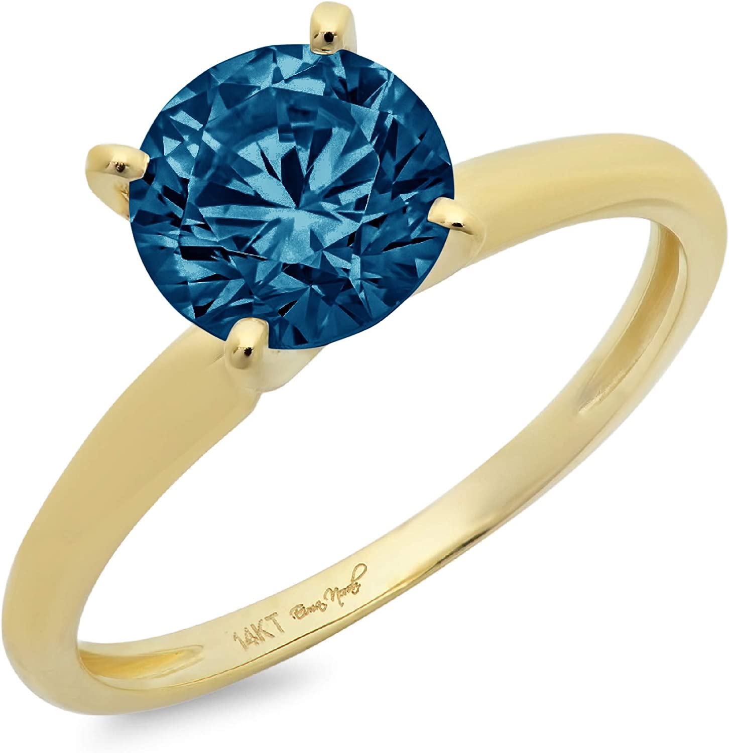 3.0 ct Brilliant Round Cut Solitaire Natural London Blue Gem Stone Ideal VVS1 4-Prong Engagement Wedding Bridal Promise Anniversary Ring in Solid Real 14k Yellow Gold for Women