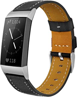 Shangpule Compatible for Fitbit Charge 3 & Charge 3 SE Bands, Genuine Leather Band Replacement Accessories Straps Charge 3 Women Men Small Large
