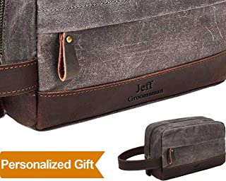 Personalized Gifts engraved Leather Canvas Toiletry Bag Waxed Canvas Cosmetic Bag Durable Vintage Leather, Canvas Toiletry Bag, Zipper Travel Toiletry Bag Makeup Bag for Bathroom Shaving Dopp Kit