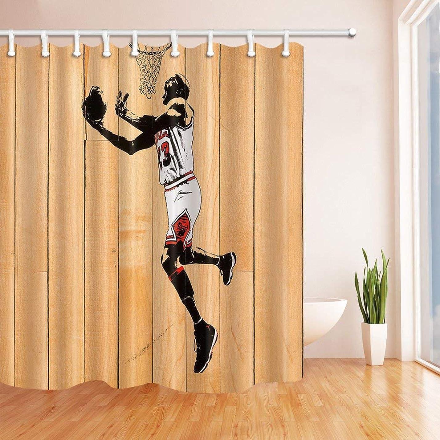 経済的驚くばかり証明するGooEoo スポーツ装飾、木製シャワーカーテンのバスケットボールシルエット、ポリエステルファブリック防水バスカーテン、71X71インチ、シャワーカーテンフック付き、ブラウン