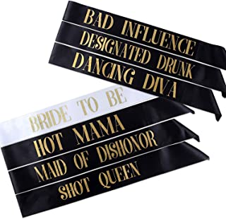 BeVarious Bride to be/Team Bride Sash, Bachelorette Sash Set for Bridesmaids, Maid of Honor, Bridal Shower and Hen Party Decorations, Favors, Accessories and Supplies (7Pack)