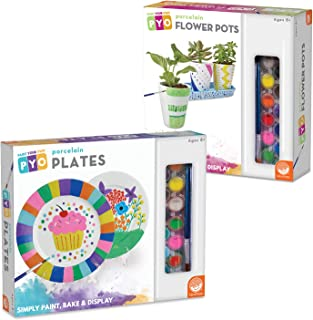 MindWare Paint Your Own Porcelain Plates and Flower Pots: Set of 2