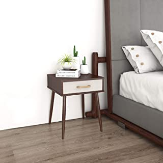 Lifewit Nightstand with 1 Fabric Drawer, Bedroom Side Table Bedside Table, Livingroom End Table, Sturdy and Easy Assembly, 15.7×15.7×20 in, Brown
