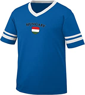 Hungary Flag and Shield Men's Retro Soccer Ringer T-shirt, Amdesco