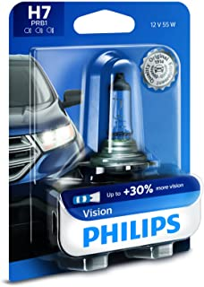 Philips H7 Vision Upgrade Headlight Bulb with up to 30% More Vision, 1 Pack