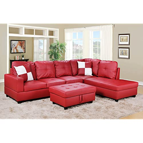 Red Leather Sectional Sofa Amazon Com